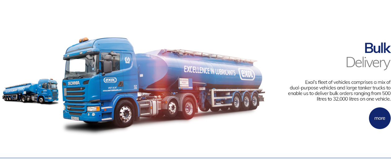 Exol's fleett of vehicles comprises a mix of dual-purpose vehicles and large tanker trucks to enable us to deliver bulk orders ranging from 500 litres to 32,000 litres on one vehicle.